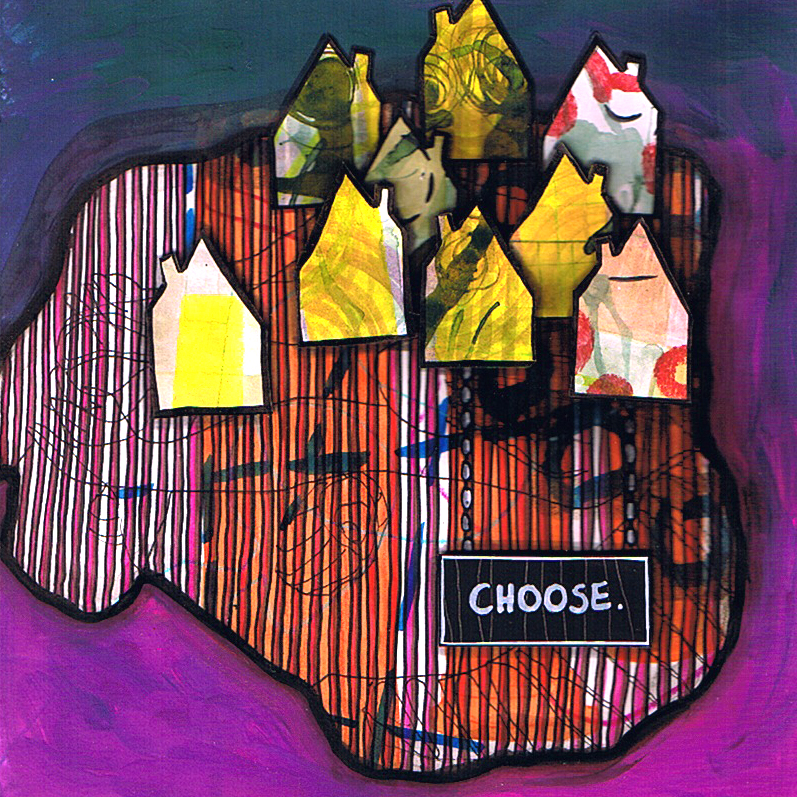 Jessica Koppe: choose | mixed-media collage, 21 x 21 cm | 2013